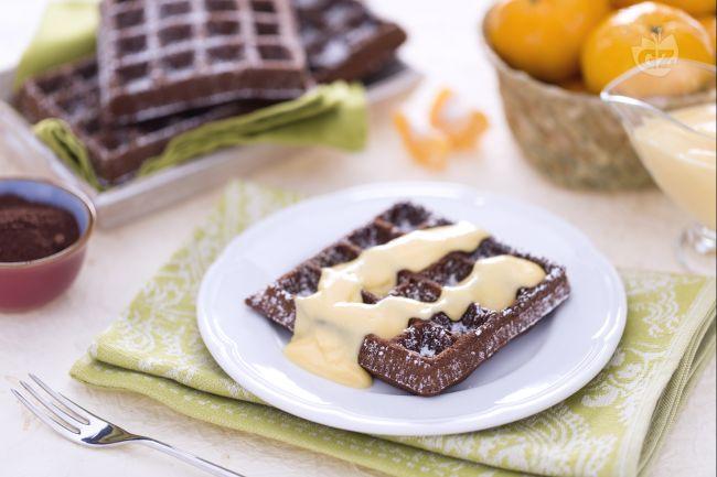 Ricetta gaufre al cacao con crema al mandarino