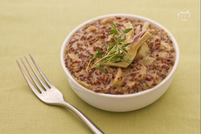 Ricetta riso rosso selvatico con cuori di carciofo e stracchino