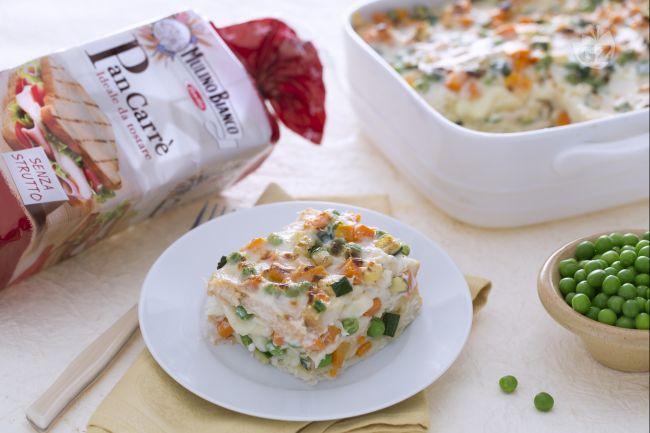 Ricetta lasagne di pancarrè con formaggio e ragù di verdure