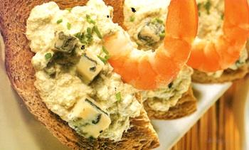 Crostoni con gamberetti e gorgonzola