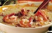Ricetta zuppa di farro e gamberi
