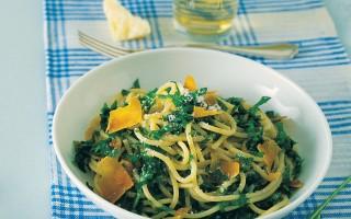 Ricetta spaghetti alla bottarga, rughetta e basilico