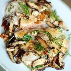 Halibut fritto con funghi shiitake