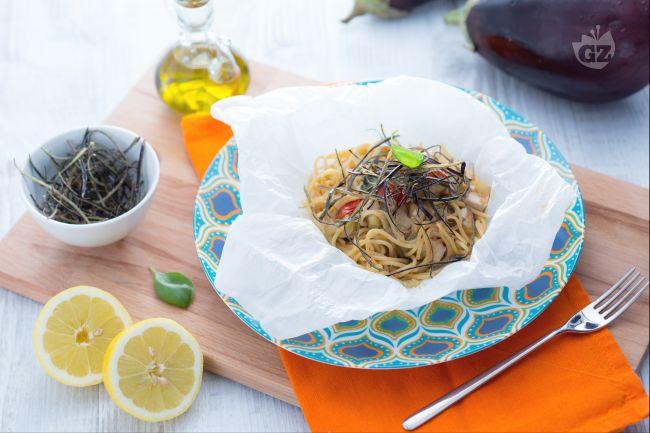 Ricetta spaghetti integrali terra e mare al cartoccio