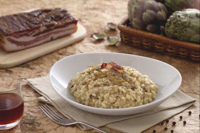 Ricetta risotto alla crema di carciofi e pancetta croccante