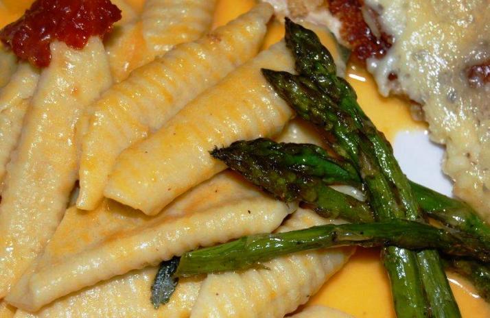 Garganelli con fagiolini, carote e zucchine