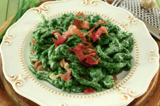 Ricetta spätzle di spinaci con speck e panna