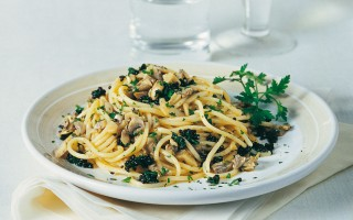Ricetta spaghetti ai funghi e caviale