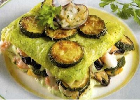 Lasagne con zucchine e frutti di mare