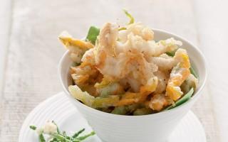 Ricetta fritto di sogliole, fiori di zucca e asparagi di mare