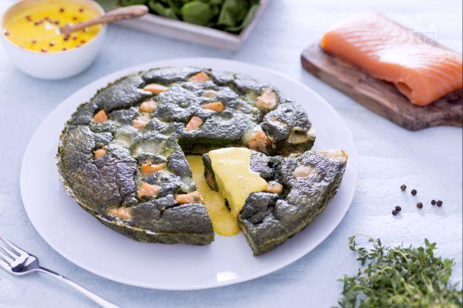 Ricetta frittata al verde con salmone, toma e salsa allo zafferano ...