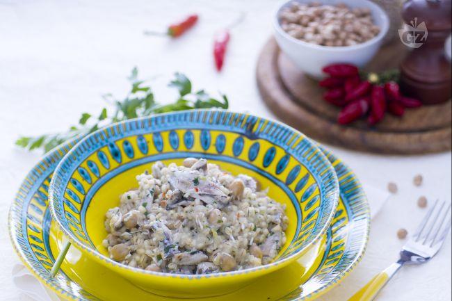 Ricetta orzotto ai ceci, alici e ricotta salata