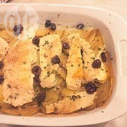 Merluzzo al forno con patate e olive