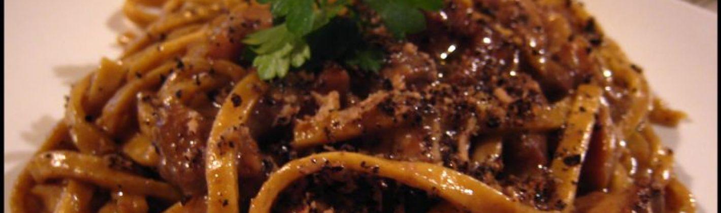 Ricetta pasta fresca con funghi, fegatini e tartufo