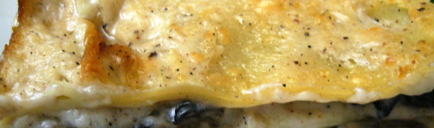 Ricetta lasagne ai funghi con crema di patate al taleggio