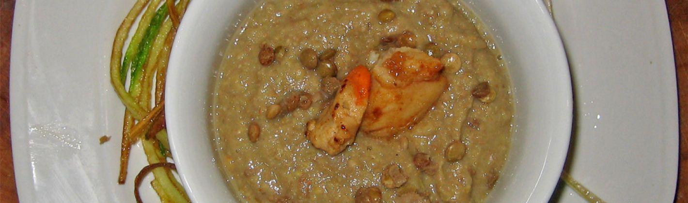 Ricetta crema di lenticchie rosse con gamberetti