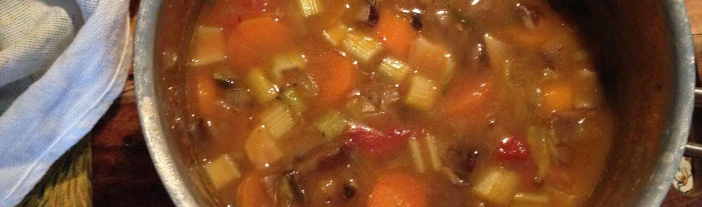 Ricetta minestra di fagioli e funghi in crosta