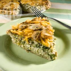 Quiche velocissima ai funghi, spinaci e pancetta