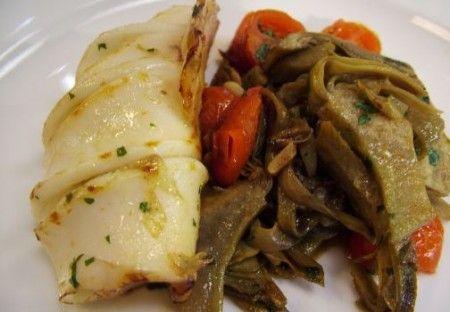 Ricetta calamaretti alle olive e carciofi