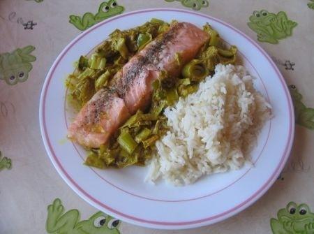 Ricetta salmone su letto di porri