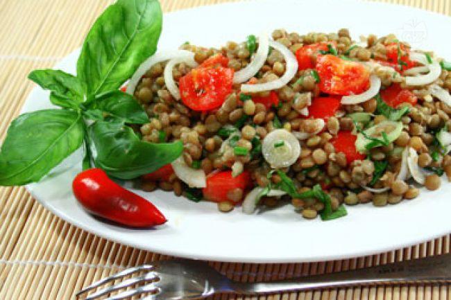 Ricetta insalata di lenticchie pomodori e cipollotti