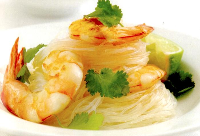 Vermicelli di riso con gamberi e coriandolo