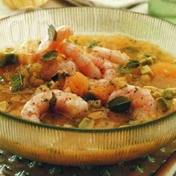 Zuppa fredda di gamberi, avocado e melone