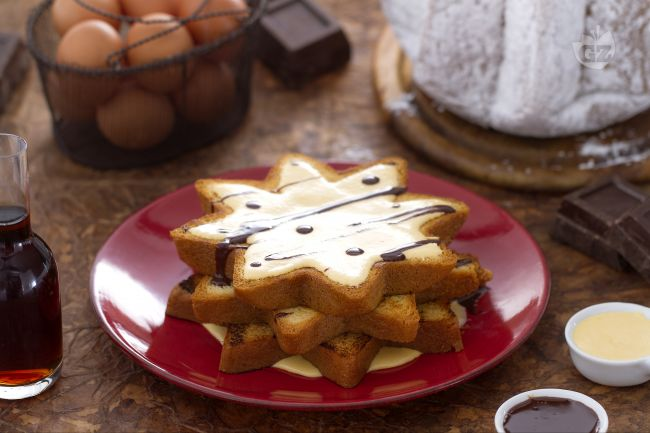 Ricetta stelle di pandoro con crema allo zabaione