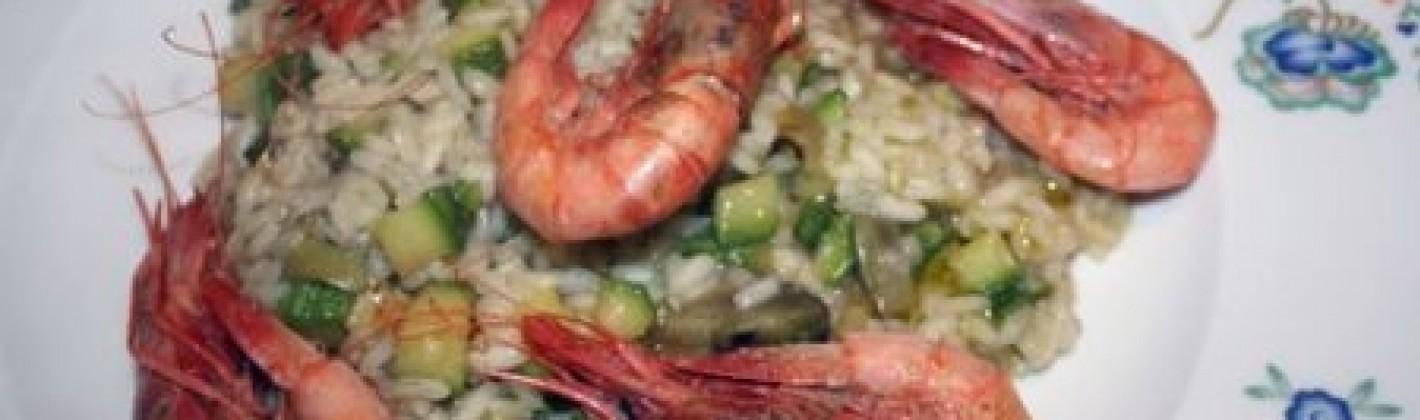 Ricetta risotto gamberi, zucchine e carciofi