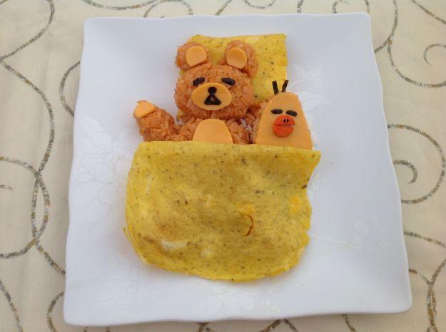 Ricetta orsetto di riso con copertina di frittata