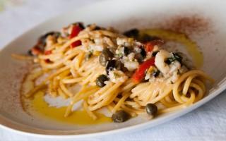 Ricetta spaghetti mediterranei con baccalà
