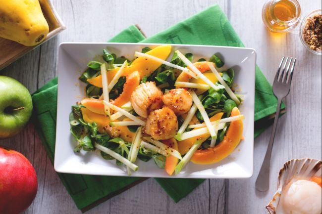 Ricetta capesante con insalata di frutta