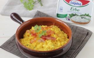 Ricetta risotto allo zafferano, formaggio alle erbe e speck croccante ...