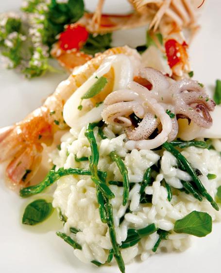 Riso agli asparagi di mare, calamari e scampi