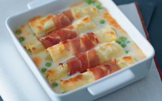 Ricetta cannelloni con purè di piselli e speck