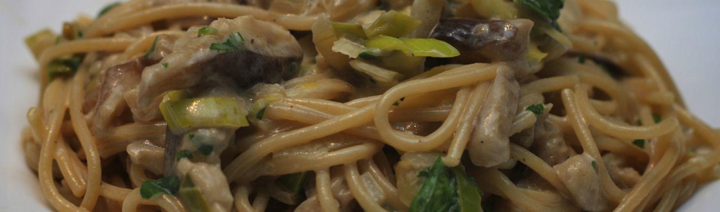 Ricetta pasta con porro e funghi