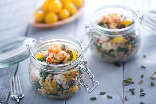 Ricetta insalata di farro e gamberi