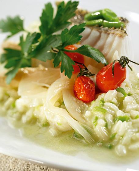 Riso agli asparagi, fave e luccioperca del ceresio