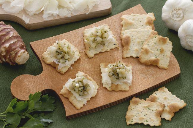 Ricetta sfoglie alle olive con topinambur e raspadura