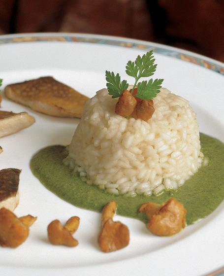Timballo di riso con filetti di salmerino e galletti