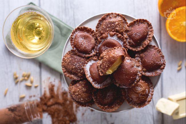 Ricetta ravioli al cacao con cuore di cioccolato bianco