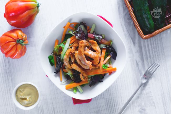 Ricetta insalata di pollo croccante con vinaigrette