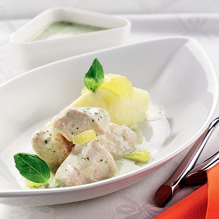 Bocconcini di pollo al limone e basilico con crema di patate ...