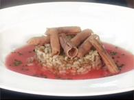 Gazpacho di riso ai 3 cereali con bottarga di tonno ed erba cipollina