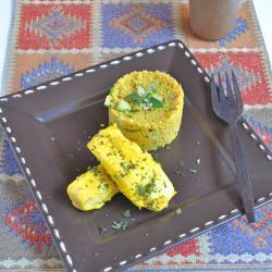 Merluzzo alla zafferano con insalata di couscous al prezzemolo ...