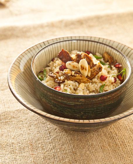 Insalata di riso con anatra e melograno