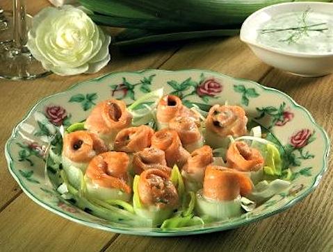 Rose di salmone con il porro