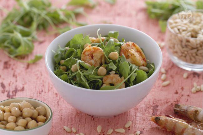 Ricetta insalata di ceci gamberi e rucola