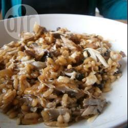 Risotto ai funghi e filetti di sgombro