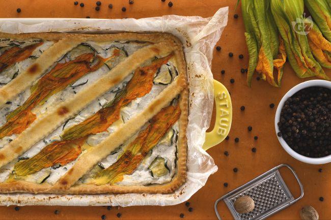 Ricetta crostata salata alla ricotta e fiori di zucca
